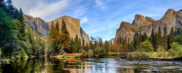 Yosemite National Park Panorama Yosemite National Park Panorama el capitan yosemite national park stock pictures, royalty-free photos & images