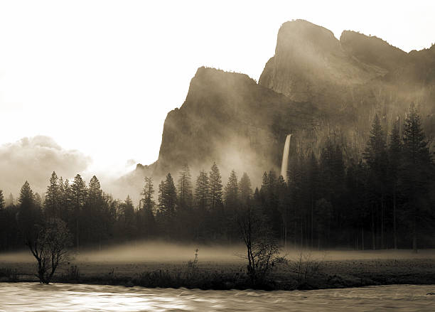 yosemite national park - sepia stock photos and pictures