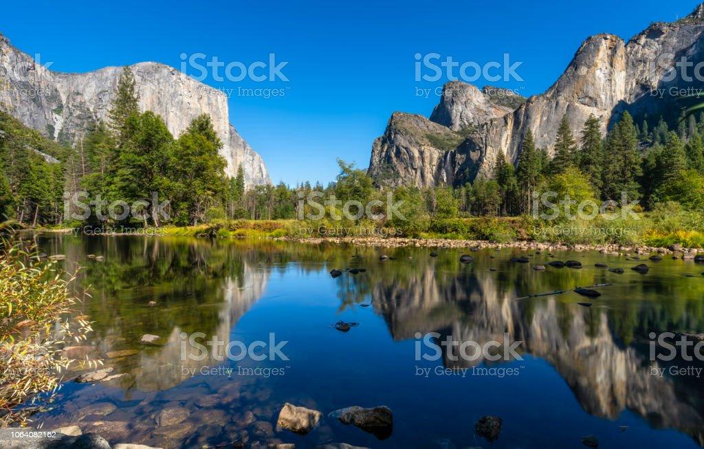 Yosemite National Park river reflection. California. USA stock photo