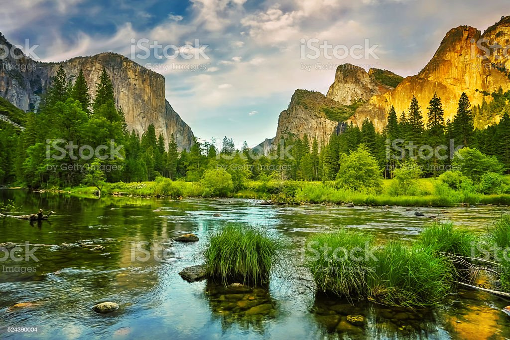 Yosemite National Park sunset stock photo