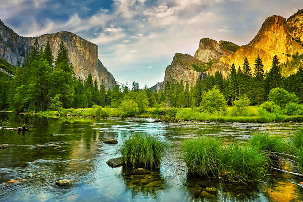 Yosemite National Park sunset Sunset over Yosemite Valley reflected in Merced River. el capitan yosemite national park stock pictures, royalty-free photos & images