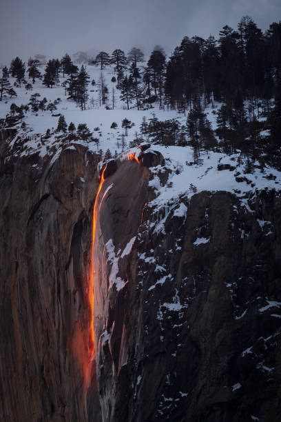 Yosemite National Parks, Horsetail Falls Annual FireFall stock photo