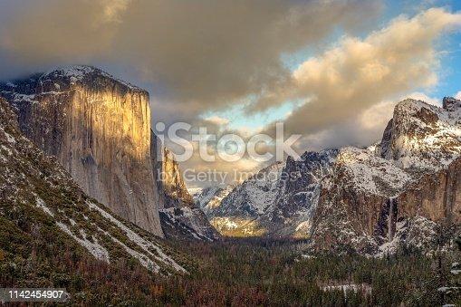 Light dancing on Yosemite valley floor at sunset