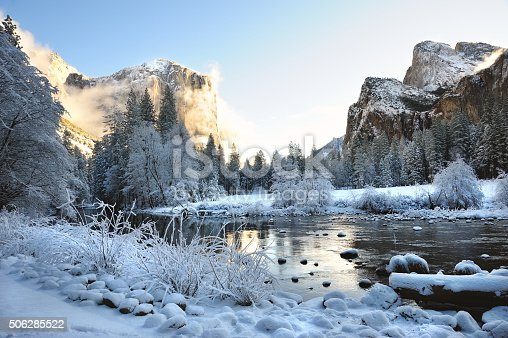 The Merced River in a snow covered Yosemite Valley.