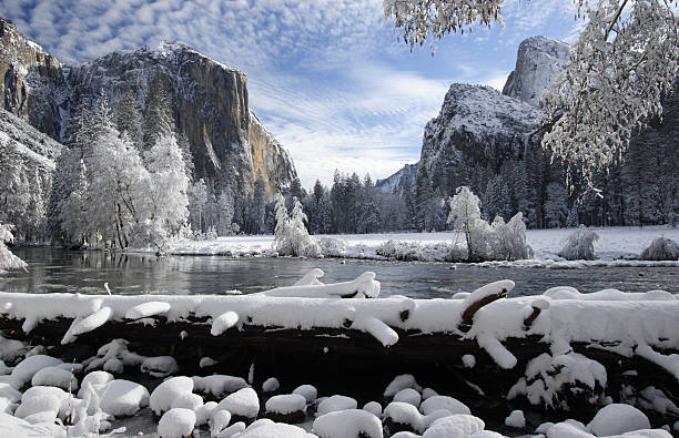 Yosemite Valley After a Fresh Winter Snow  el capitan yosemite national park stock pictures, royalty-free photos & images