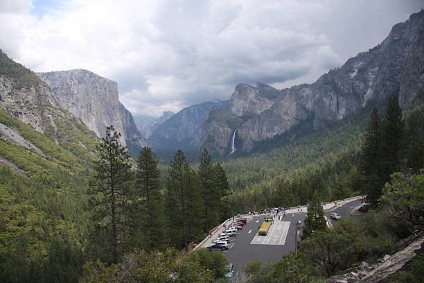 Yosemite Valley and Tunnel View Lookout stock photo