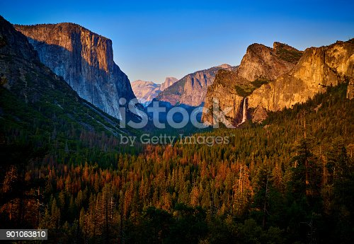 Yosemite valley at sunset in blue sky, California, USA.