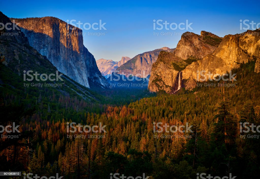 Yosemite Valley at Sunset, California, USA stock photo
