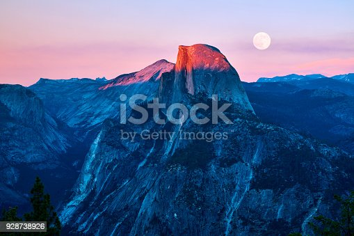 Yosemite valley at sunset, California, USA.