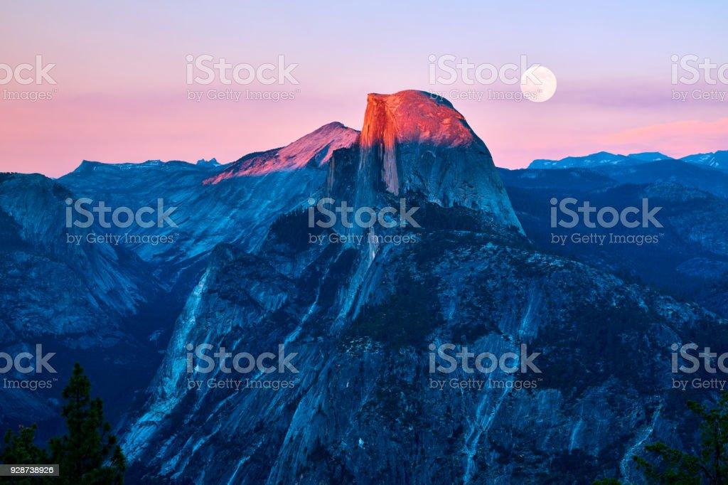 Yosemite Valley at Sunset, California, USA stock photo