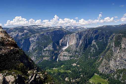Springtime view of Yosemite Valley from Glacier Point.  Taken in Yosemite National Park, California, USA.
