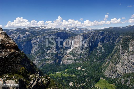 Springtime view of Yosemite Valley from Glacier Point.  Taken in Yosemite National Park, California, USA.