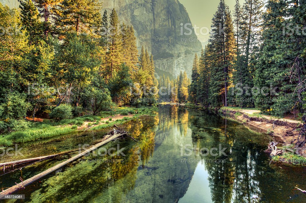 Yosemite Valley Landscape and River, California stock photo