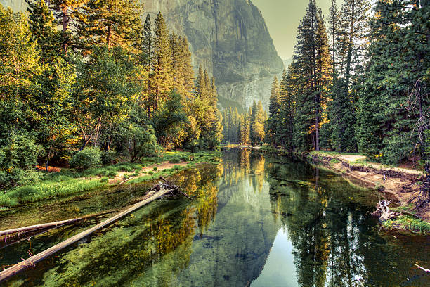 yosemite valley landscape and river, california - majestueus stockfoto's en -beelden