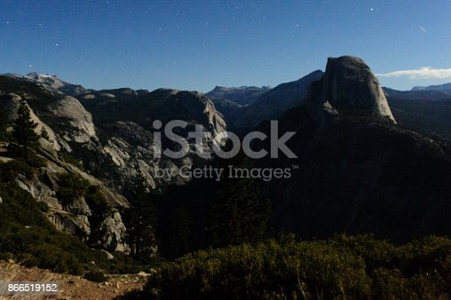 Night time shot of Halfdome and Yosemite Valley, from Glacier Point. Yosemite National Park, California, USA.
