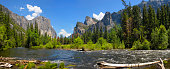Yosemite National Park looking from Merced River  California USA