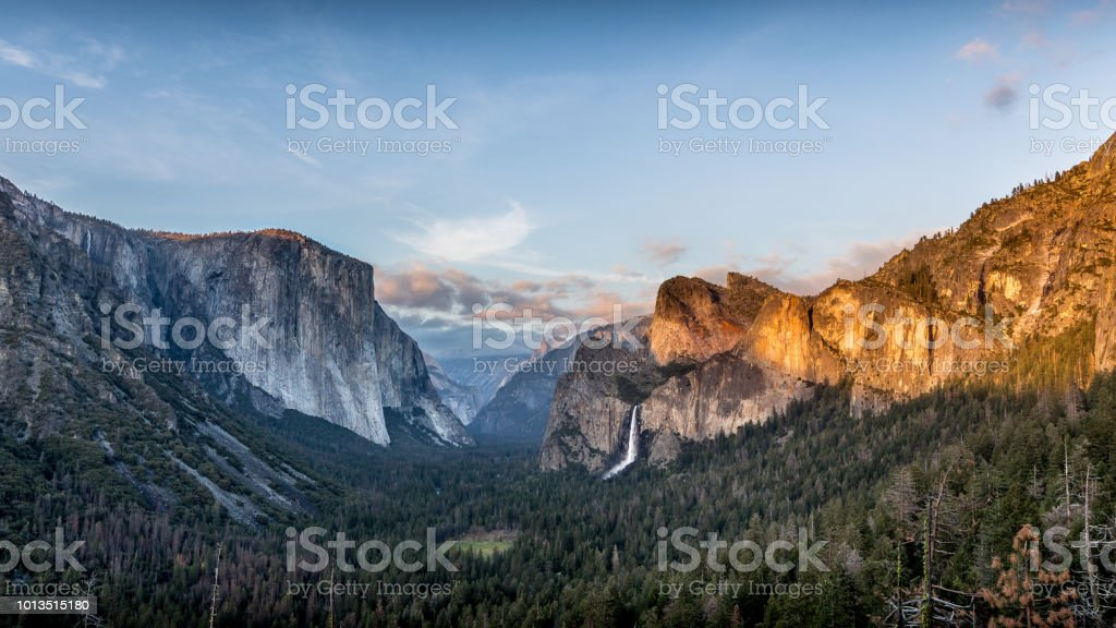 Yosemite Valley Yosemite Valley as seen at sunset. Adventure Stock Photo
