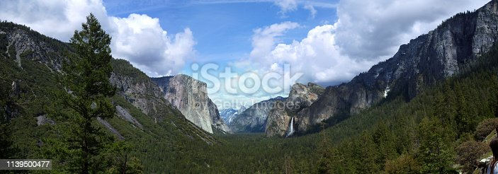 View over Yosemite Valley with El Capitan and Half Dome from Tunnel View Point