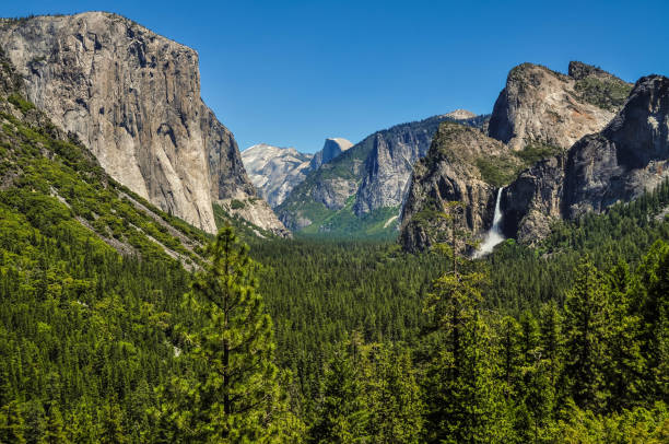 Yosemite Valley The Yosemite Valley with its iconic granite monoliths known as El Capitan and Half Dome as well as the falling waters of Bridal Veil Falls. el capitan yosemite national park stock pictures, royalty-free photos & images