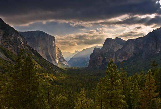 Yosemite Valley sunset stock photo