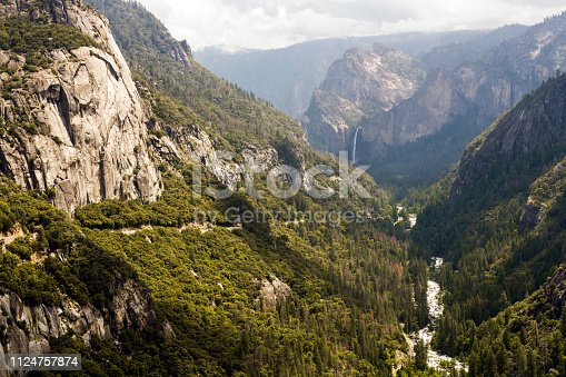 Yosemite Valley with Bridalveil Fall with the Meerced river and green pine forest
