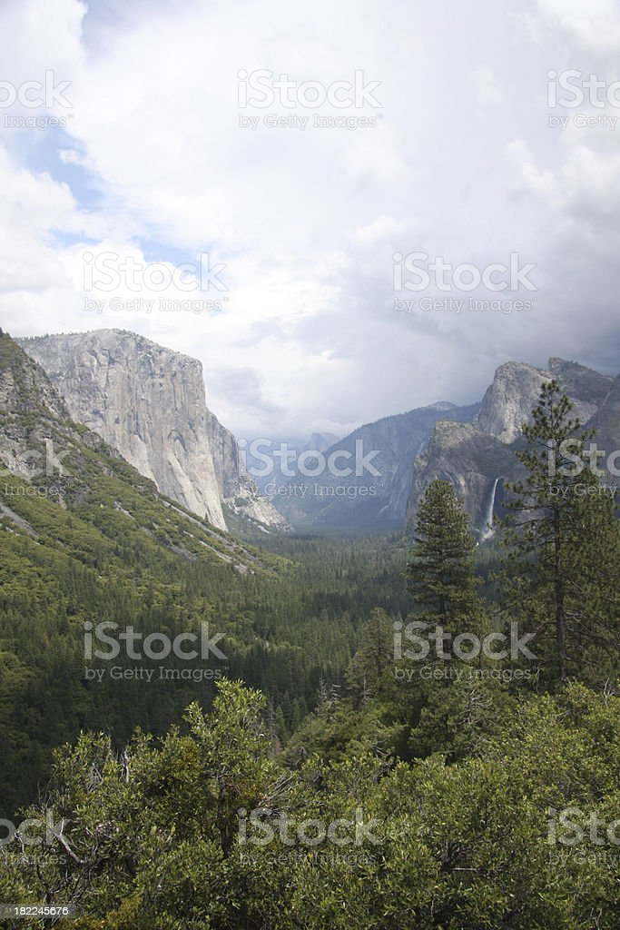 Yosemite Valley with El Capitan and Bridalveil Fall stock photo