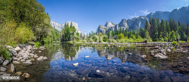 Panoramic view of famous Yosemite Valley with beautiful Merced river on a scenic sunny day with blue sky in summer, Yosemite National Park, California, USA