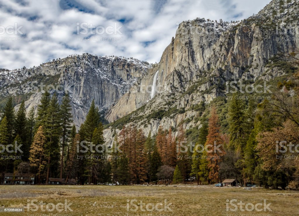 Yosemite Valley with Upper Yosemite Falls during winter - Yosemite National Park, California, USA stock photo