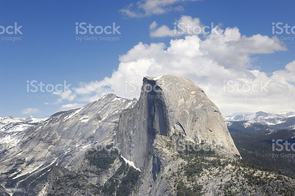 Yosemite's Half Dome and Snow Covered Peaks royalty-free stock photo