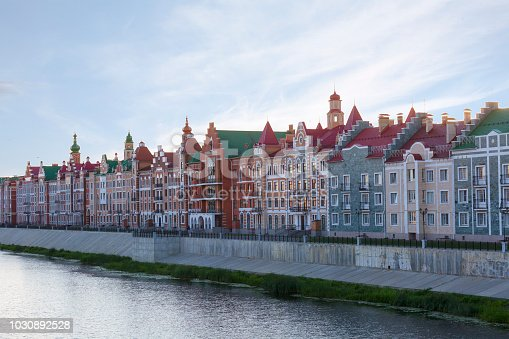 Yoshkar Ola city. Mari El, Russia. Bruges Quay in the city of Yoshkar-Ola in sunrise