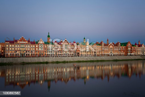 Yoshkar Ola city. Mari El, Russia. Bruges Quay in the city of Yoshkar-Ola in sunset
