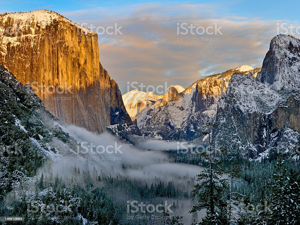Yosmite Valley in Winter Fog stock photo