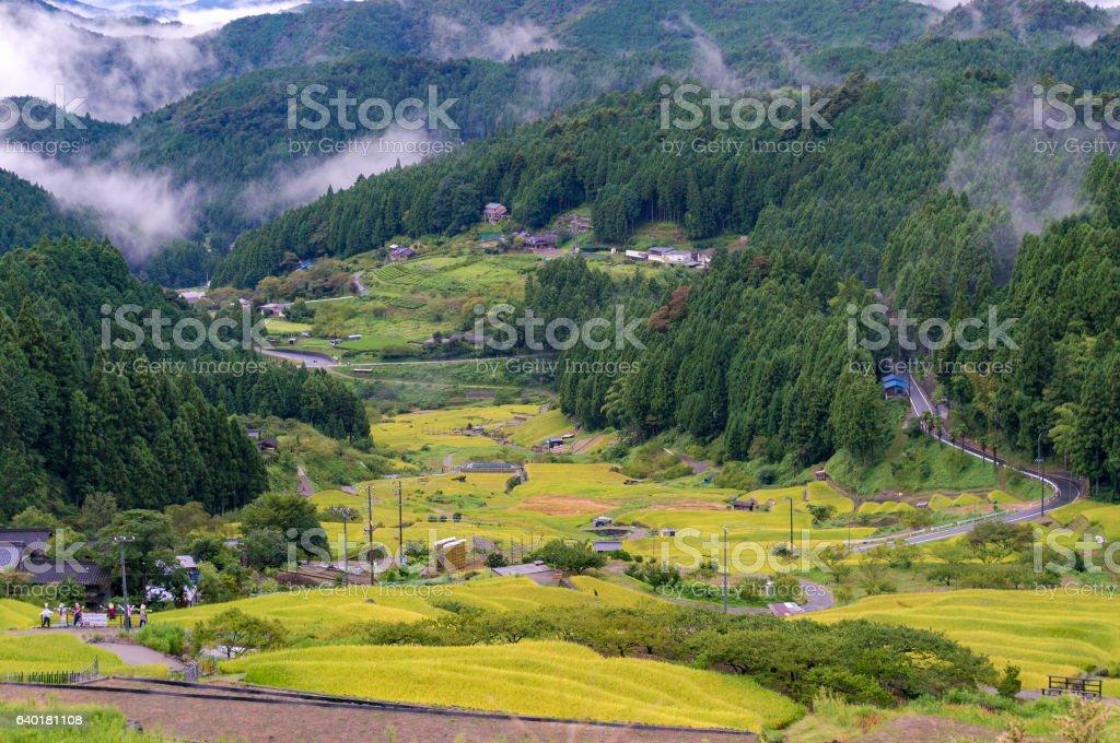 Yotsuya No Semmaida village and rice fields stock photo