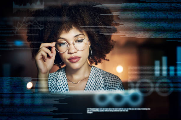 You always need to be focused and alert when coding stock photo