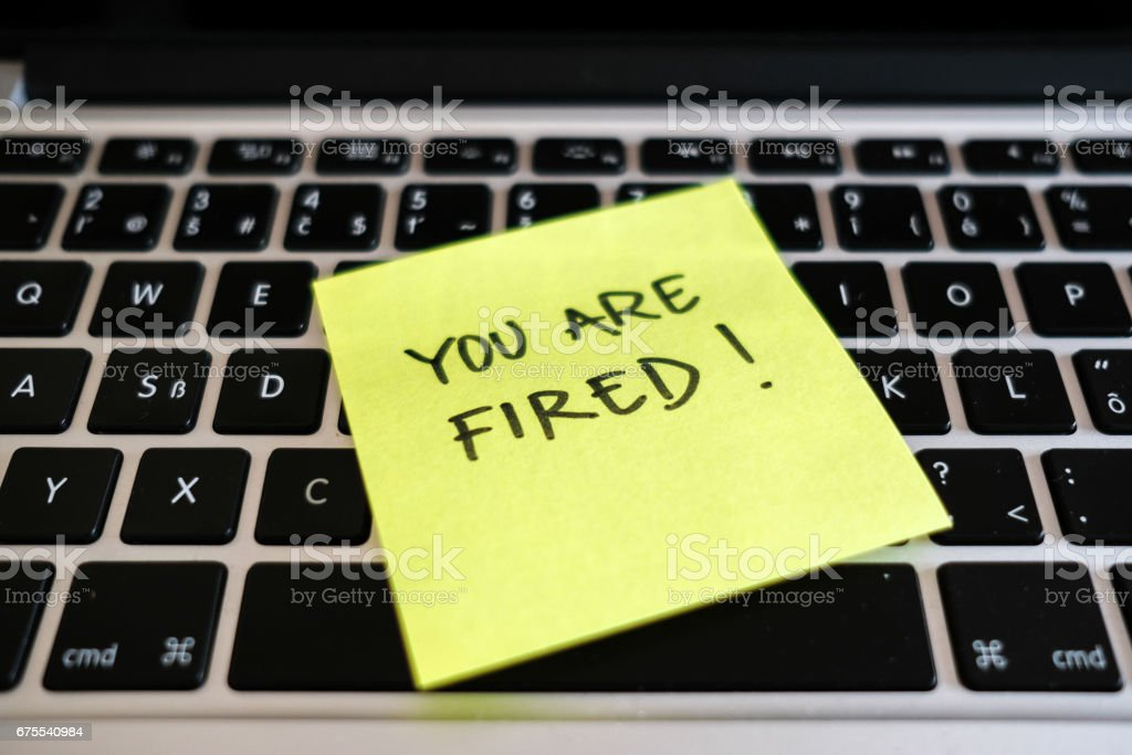 You are fired. Dismissal, downsizing, layoff message in office. royalty-free stock photo