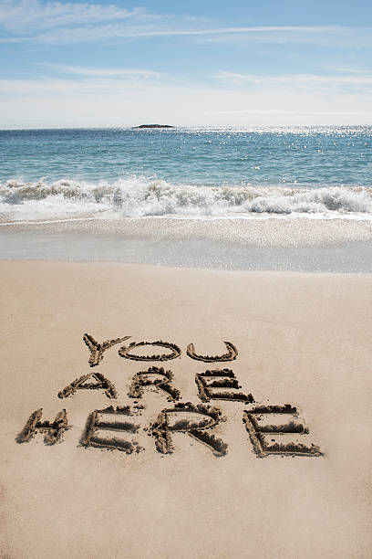 You are Here at the Beach stock photo