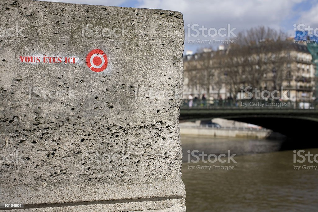 You Are Here at the Seine River stock photo