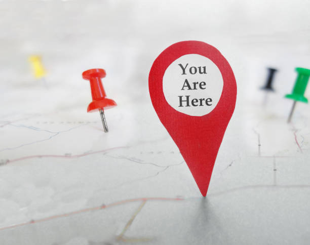 You Are Here locator symbol stock photo