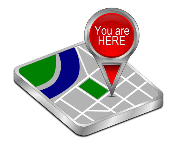 You are Here Map Pointer - 3D illustration stock photo