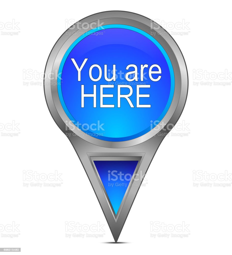 You are Here Map Pointer – 3D illustration stock photo