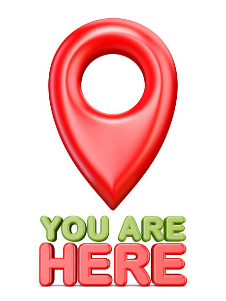 You are here red map pointer 3D stock photo
