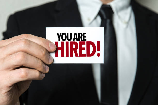 you are hired! - employee engagement stock photos and pictures