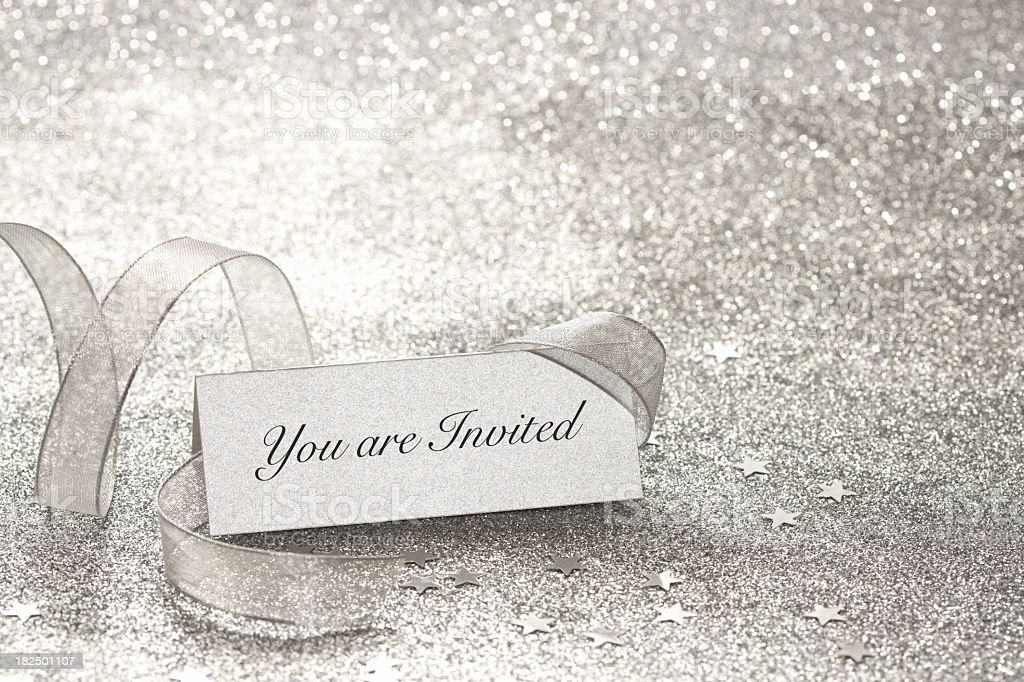 You are Invited silver place card stock photo