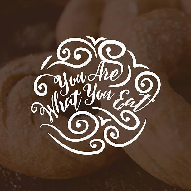 """""""du bist, was du isst"""" fancy typografie - intelligente zitate stock-fotos und bilder"""