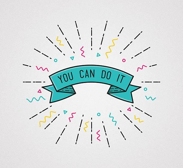 du schaffst es! motivierende illustration und motivierendes zitat - flyer inspiration stock-fotos und bilder
