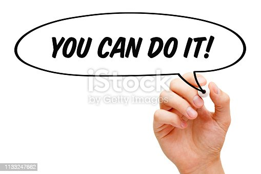 Hand drawing You Can Do It speech bubble motivational concept with black marker.