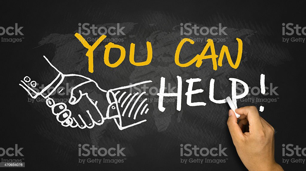 You can help graphic being drawn on blackboard stock photo