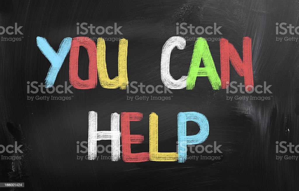 You can help in painted letters on blackboard stock photo