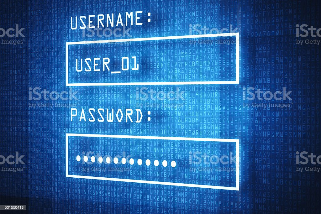 You can log into your account worldwide! stock photo