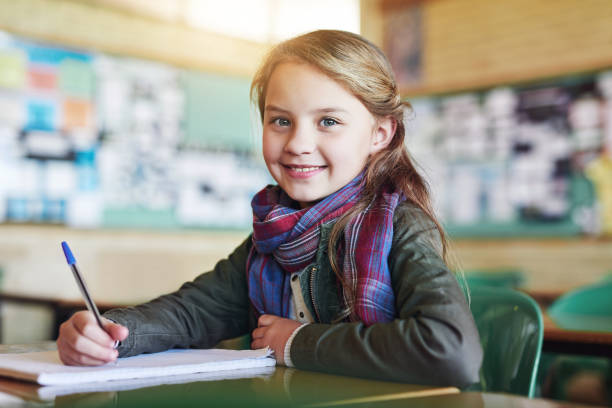 you can see she's ready to write the test - one girl only stock pictures, royalty-free photos & images